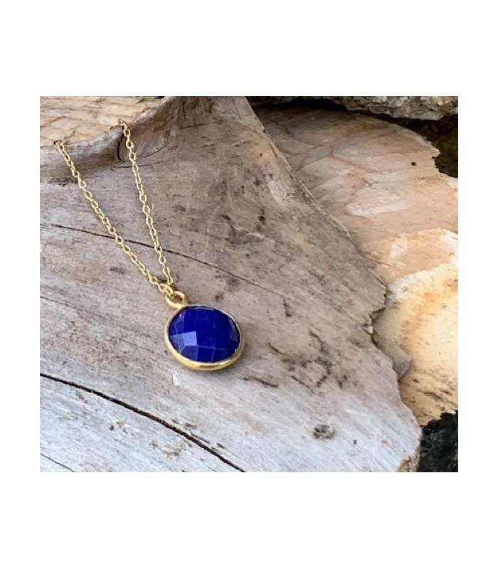Pendentif en Lapis lazuli serti plaqué or