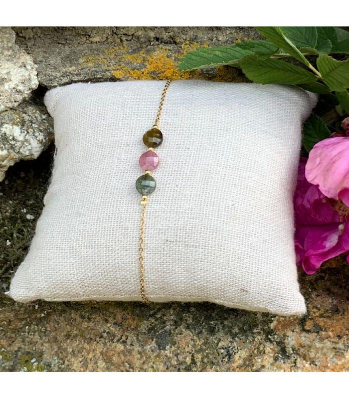 Bracelet en Tourmaline plaqué or