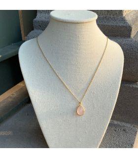 Pendentif en Quartz rose goutte serti plaqué or