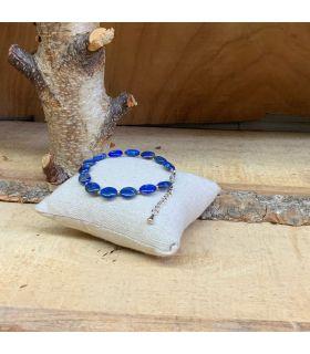 Bracelet en Lapis lazuli oval mousqueton acier