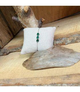 Bracelet en Malachite 3 perles plaqué argent rhodié
