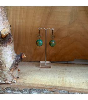 Boucles d'oreilles en Turquoise recomposée acier fermoir dormeuse