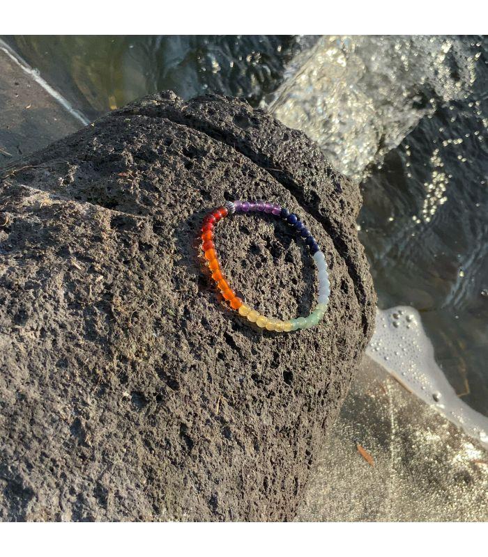 Bracelet 7 chakras (petites perles) élastique