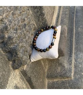 Bracelet en Oeil de Tigre, Taureau, Faucon (grosses perles) élastique