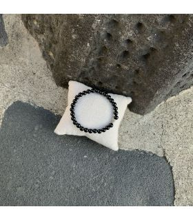 Bracelet en Agate noire (perles moyennes) élastique