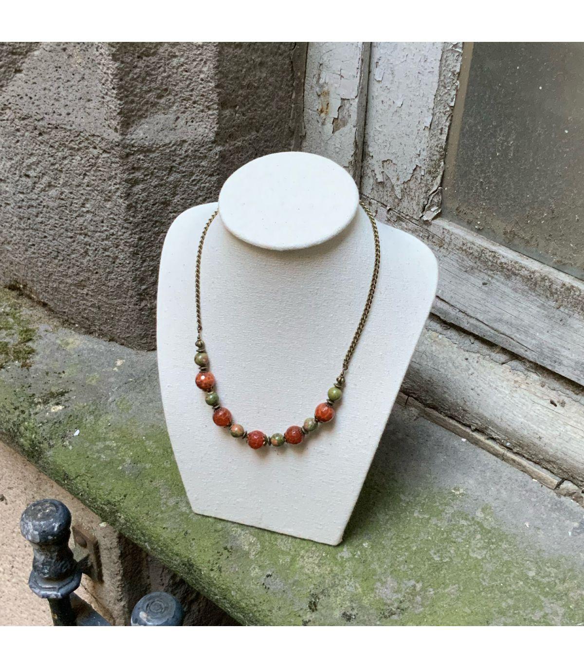 Collier En Agate de Feu Et Perles D/'Eau Douce 925er Argent Fermeture