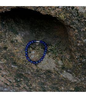 Bracelet en Lapis lazuli grosses perles élastique, homme