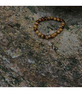 Bracelet en Oeil de tigre (grosses perles) élastique homme