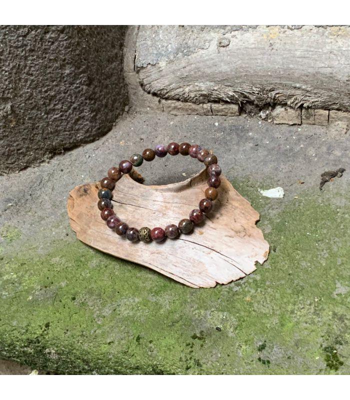 Bracelet en Pietersite (grosses perles) élastique homme