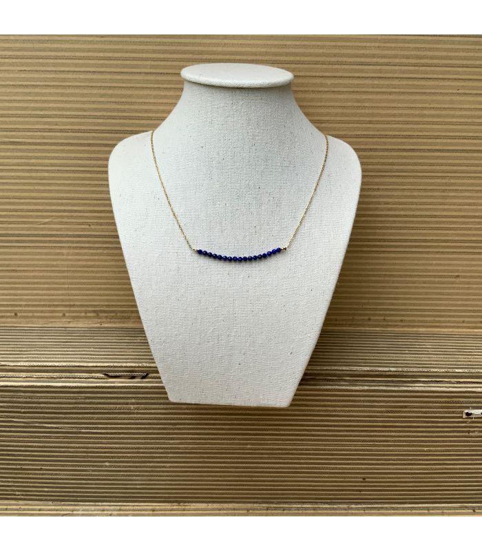 Collier plaqué or en Lapis lazuli trait