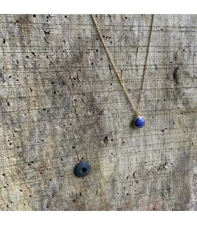 Pendentif en Lapis lazuli serti rond plaqué or