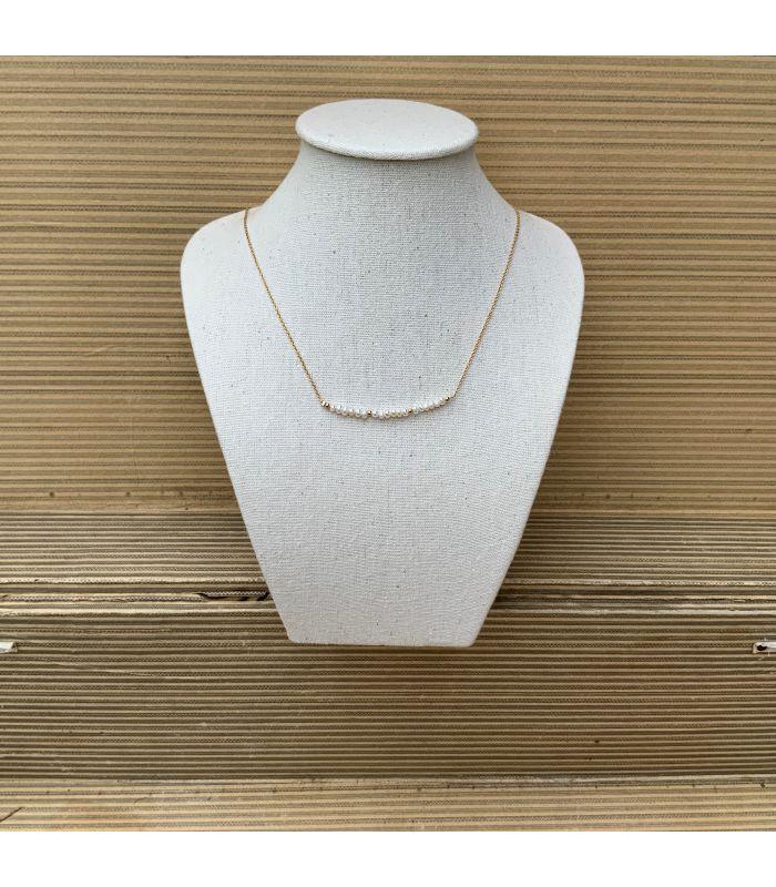 Collier en perles d'eau douce Plaqué Or trait