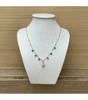 Collier coquillage et Turquoise Plaqué Or
