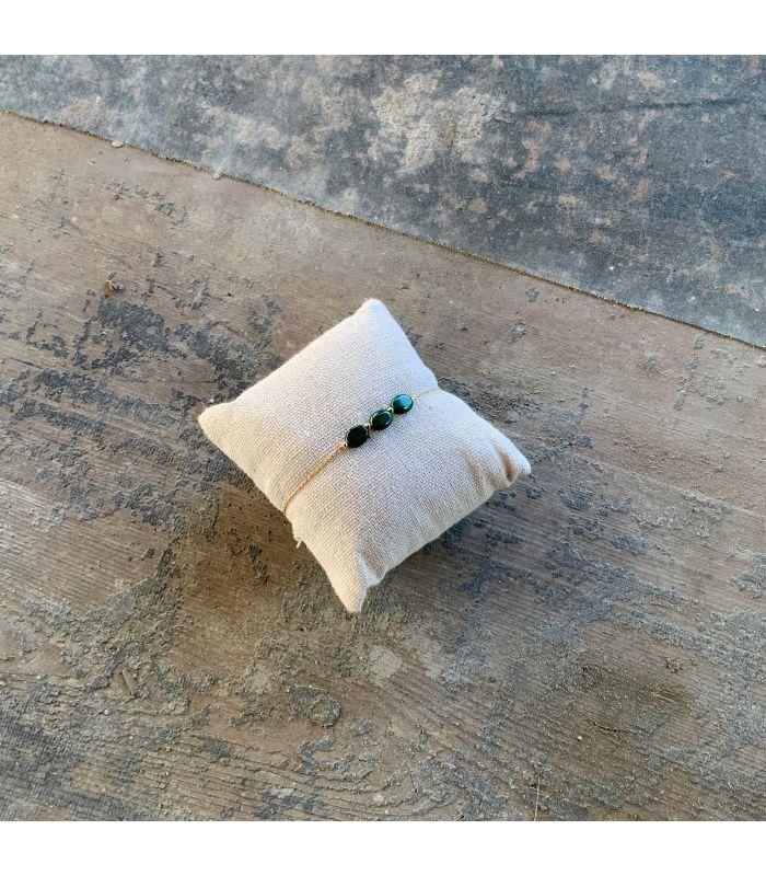 Bracelet en Malachite plaqué or 3 perles ovales