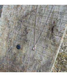Collier en quartz rose serti rond Argent rhodié
