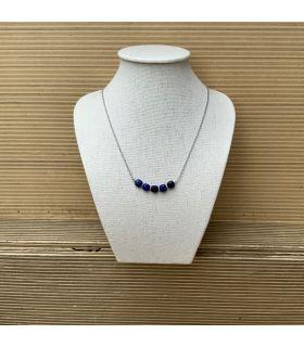 Collier en Lapis lazuli plaqué argent rhodié 5 perles
