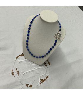 Collier en Lapis lazuli ovale fermoir acier