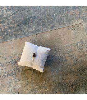 Bracelet en Quartz fumé serti carré plaqué argent rhodié